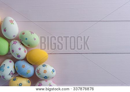 Easter Painted Egg On Wooden Rustic Table, Holiday Background For Your Decoration. Decoupage Eggs On