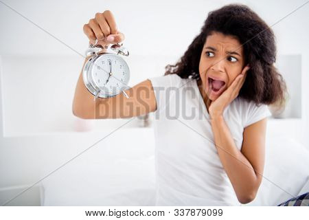 Profile Photo Of Crazy Mad Curly Dark Skin Lady Sitting Bed Sheets Holding Metal Alarm Clock Morning