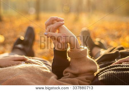Happy Couple Outdoors. Outdoor Portrait Of Romantic Couple In Love. Full Of Happiness. Valentines Da