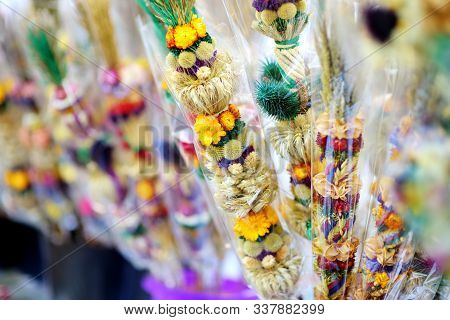 Traditional Lithuanian Easter Palms Known As Verbos Sold On Easter Market In Vilnius, Lithuania