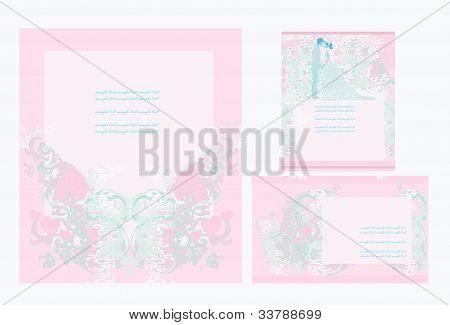 elegante Hochzeitseinladung set mit Brautpaar, Vektor-illustration