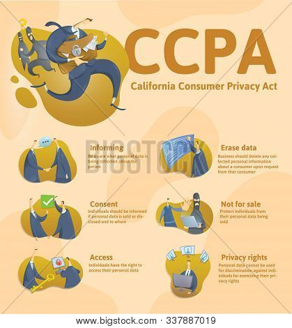 Ccpa, California Consumer Privacy Act. Protection Of Personal Data. Vector Design Template Of Websit