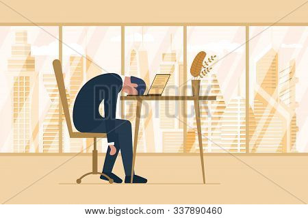 Professional Burnout Syndrome. Exhausted Tired Male Employee In Office Sad Boring Sitting Head Down