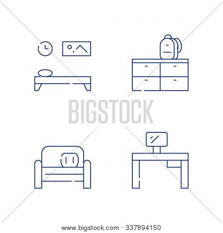 Children Bedroom Furniture, Desk And Monitor Home Work, Small Couch, Backpack And Dresser, Vector Li