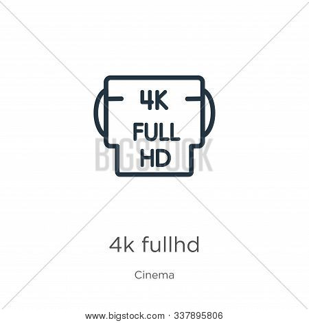4k Fullhd Icon. Thin Linear 4k Fullhd Outline Icon Isolated On White Background From Cinema Collecti