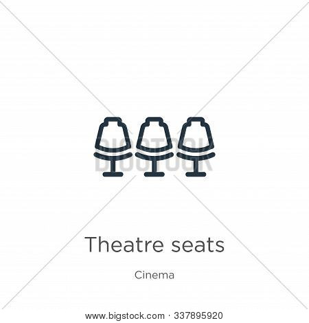 Theatre Seats Icon. Thin Linear Theatre Seats Outline Icon Isolated On White Background From Cinema