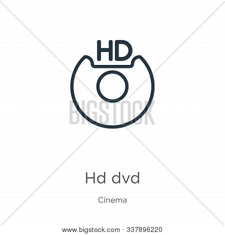 Hd Dvd Icon. Thin Linear Hd Dvd Outline Icon Isolated On White Background From Cinema Collection. Li