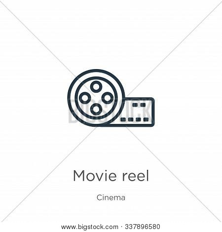 Movie Reel Icon. Thin Linear Movie Reel Outline Icon Isolated On White Background From Cinema Collec