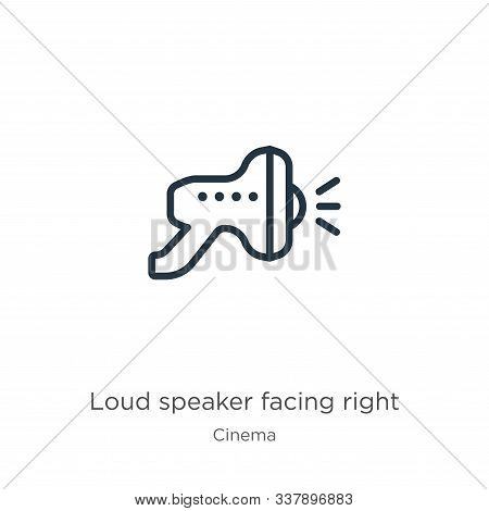 Loud Speaker Facing Right Icon. Thin Linear Loud Speaker Facing Right Outline Icon Isolated On White