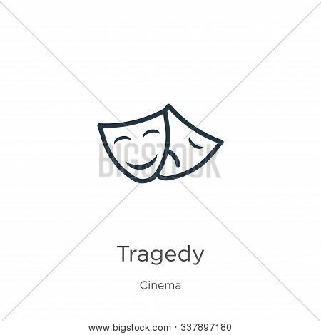 Tragedy Icon. Thin Linear Tragedy Outline Icon Isolated On White Background From Cinema Collection.