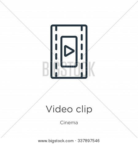 Video Clip Icon. Thin Linear Video Clip Outline Icon Isolated On White Background From Cinema Collec