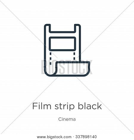 Film Strip Black Icon. Thin Linear Film Strip Black Outline Icon Isolated On White Background From C