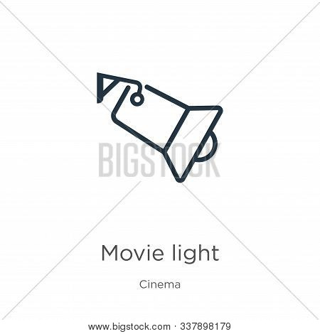 Movie Light Icon. Thin Linear Movie Light Outline Icon Isolated On White Background From Cinema Coll