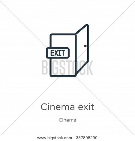 Cinema Exit Icon. Thin Linear Cinema Exit Outline Icon Isolated On White Background From Cinema Coll