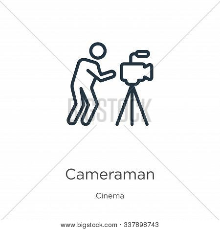 Cameraman Icon. Thin Linear Cameraman Outline Icon Isolated On White Background From Cinema Collecti