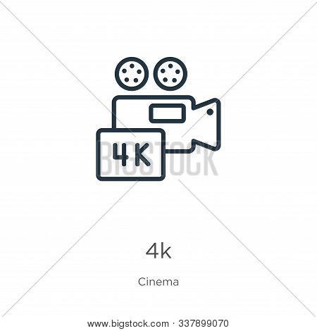 4k Icon. Thin Linear 4k Outline Icon Isolated On White Background From Cinema Collection. Line Vecto