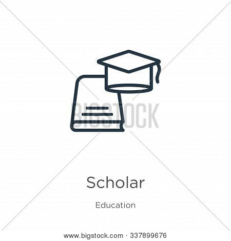 Scholar Icon. Thin Linear Scholar Outline Icon Isolated On White Background From Education Collectio