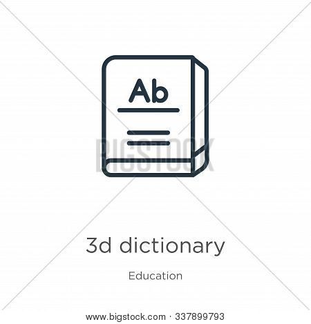 3d Dictionary Icon. Thin Linear 3d Dictionary Outline Icon Isolated On White Background From Educati
