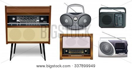 Realistic Set Of Radios. Retro Radio Music Receiver - Rigonda, Boombox, Portable Receivers. Five Ico