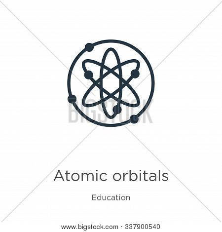 Atomic Orbitals Icon. Thin Linear Atomic Orbitals Outline Icon Isolated On White Background From Edu