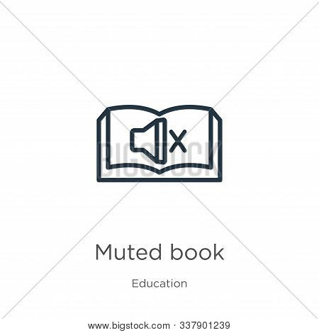 Muted Book Icon. Thin Linear Muted Book Outline Icon Isolated On White Background From Education Col