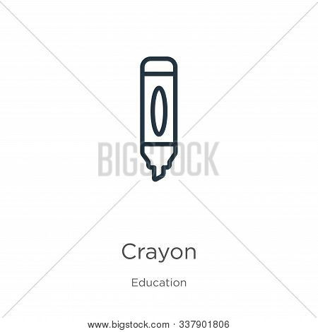 Crayon Icon. Thin Linear Crayon Outline Icon Isolated On White Background From Education Collection.