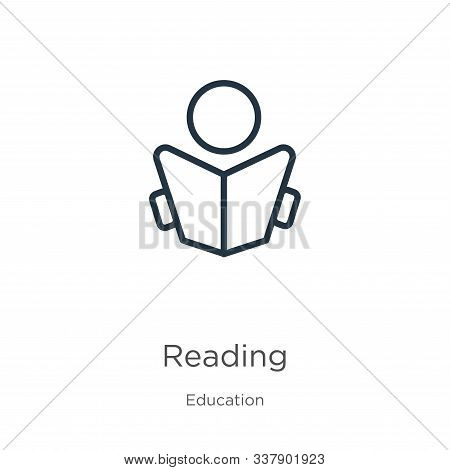 Reading Icon. Thin Linear Reading Outline Icon Isolated On White Background From Education Collectio