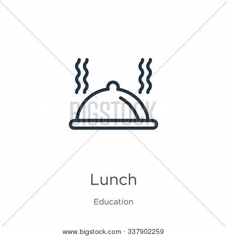Lunch Icon. Thin Linear Lunch Outline Icon Isolated On White Background From Education Collection. L