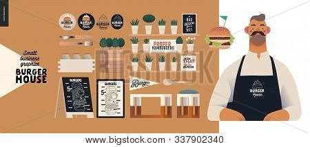 Burger House -small Business Graphics - Owner -modern Flat Vector Concept Illustrations Of A Bearded