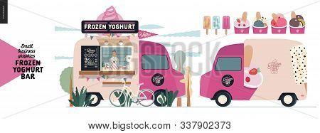 Frozen Yoghurt Bar - Small Business Graphics - Food Truck - Modern Flat Vector Concept Illustration