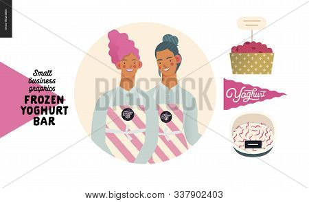 Frozen Yoghurt Bar - Small Business Graphics - About Company Icon -modern Flat Vector Concept Illust