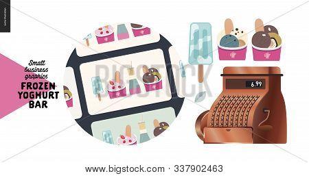 Frozen Yoghurt Bar - Small Business Graphics - Gift Cards Icon -modern Flat Vector Concept Illustrat