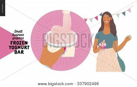 Frozen Yoghurt Bar - Small Business Graphics - Blog Icon -modern Flat Vector Concept Illustrations -