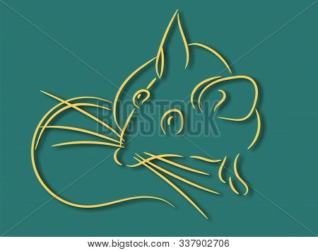 Gold 2020 Vision With Rat Icons. Lineart Design Mouse, Mice, Rat Icons. 2020 New Year. Banner Logo G