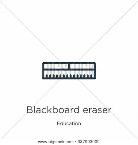 Blackboard Eraser Icon. Thin Linear Blackboard Eraser Outline Icon Isolated On White Background From