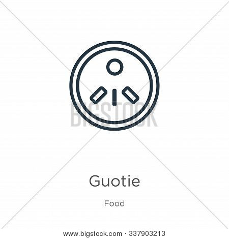 Guotie Icon. Thin Linear Guotie Outline Icon Isolated On White Background From Food Collection. Line