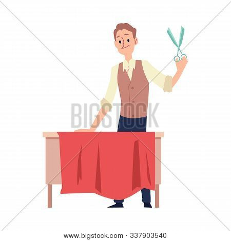 Dressmaker Or Tailor Man Cuts Fabric For Clothing Vector Illustration Isolated.