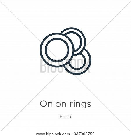Onion Rings Icon. Thin Linear Onion Rings Outline Icon Isolated On White Background From Food Collec
