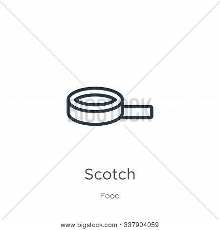 Scotch Icon. Thin Linear Scotch Outline Icon Isolated On White Background From Food Collection. Line