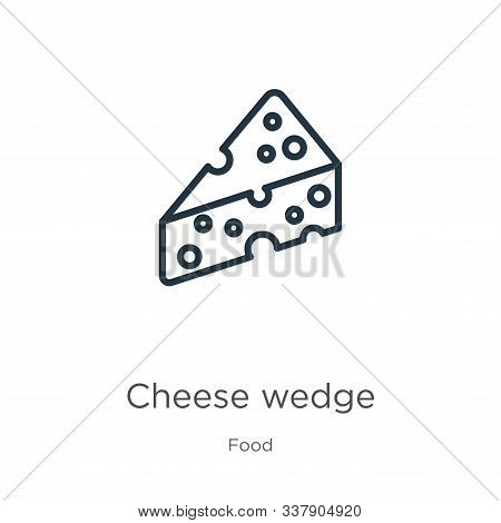 Cheese Wedge Icon. Thin Linear Cheese Wedge Outline Icon Isolated On White Background From Food Coll
