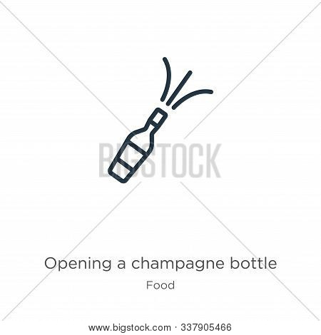 Opening A Champagne Bottle Icon. Thin Linear Opening A Champagne Bottle Outline Icon Isolated On Whi