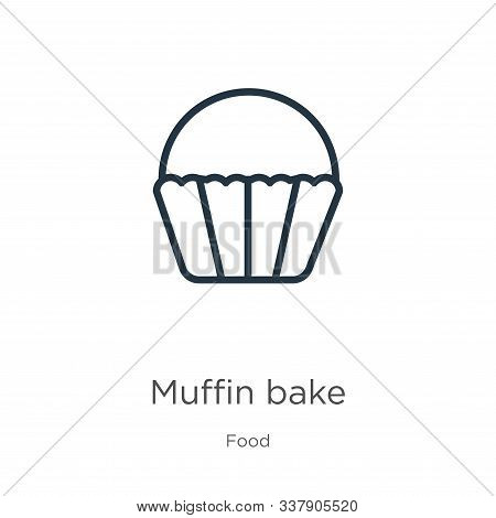 Muffin Bake Icon. Thin Linear Muffin Bake Outline Icon Isolated On White Background From Food Collec