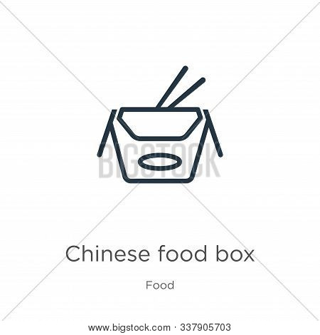 Chinese Food Box Icon. Thin Linear Chinese Food Box Outline Icon Isolated On White Background From F