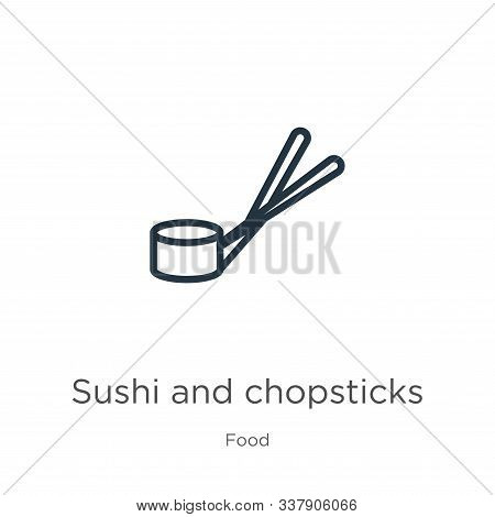 Sushi And Chopsticks Icon. Thin Linear Sushi And Chopsticks Outline Icon Isolated On White Backgroun