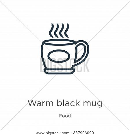 Warm Black Mug Icon. Thin Linear Warm Black Mug Outline Icon Isolated On White Background From Food
