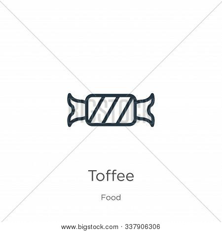 Toffee Icon. Thin Linear Toffee Outline Icon Isolated On White Background From Food Collection. Line