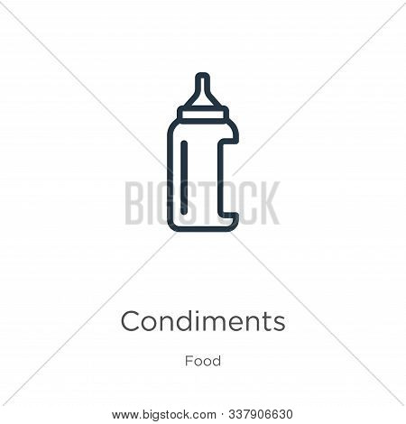 Condiments Icon. Thin Linear Condiments Outline Icon Isolated On White Background From Food Collecti