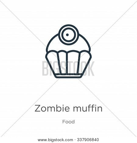 Zombie Muffin Icon. Thin Linear Zombie Muffin Outline Icon Isolated On White Background From Food Co