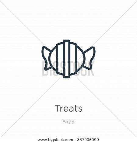 Treats Icon. Thin Linear Treats Outline Icon Isolated On White Background From Food Collection. Line