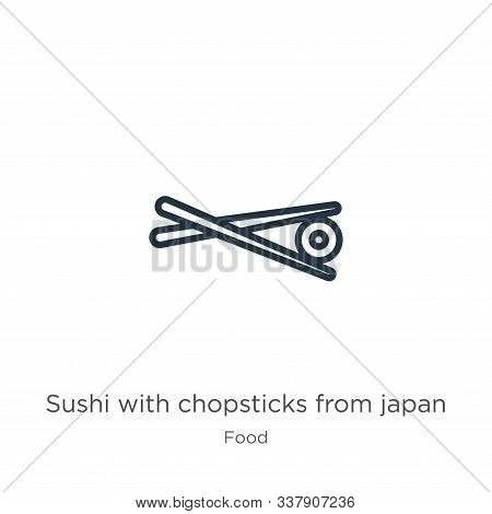 Sushi With Chopsticks From Japan Icon. Thin Linear Sushi With Chopsticks From Japan Outline Icon Iso